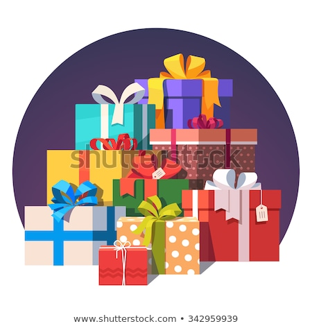 merry christmas wrapped xmas presents boxes icons stock photo © robuart