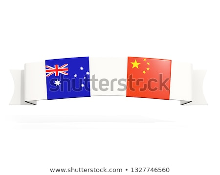 Banner with two square flags of China and australia Stock photo © MikhailMishchenko