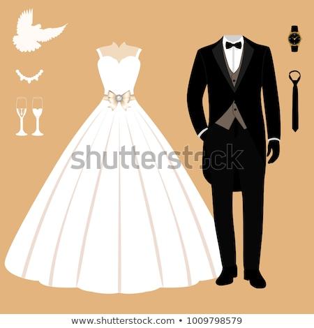 a5ddc1d5e Vestido de novia establecer patrón moda novia vestido Foto stock © netkov1