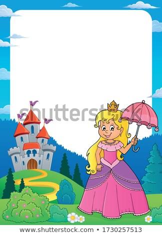Princess zamek ramki kobieta lata korony Zdjęcia stock © clairev