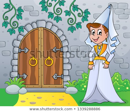 Stock fotó: Medieval Lady By Old Door Theme Image 1