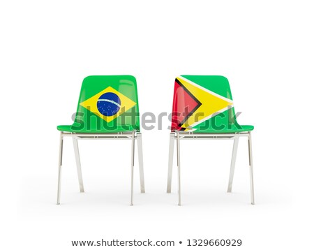 Deux chaises drapeaux Brésil Guyane isolé Photo stock © MikhailMishchenko