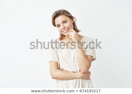 tímido · sorrir · belo · indiano · menina · isolado - foto stock © ichiosea
