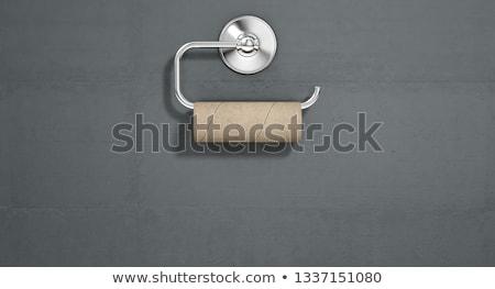 közelkép · üres · vécépapír · zsemle · befejezett · fürdőszoba - stock fotó © albund