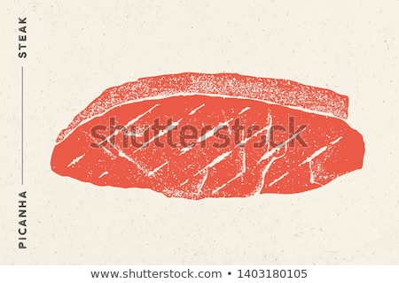 Stockfoto: Steak, Picanha. Poster with steak silhouette, typography