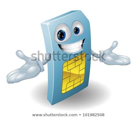 sim card mobile phone cool cartoon mascot stock photo © krisdog