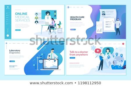 Marketing ricerca app interfaccia modello lente di ingrandimento Foto d'archivio © RAStudio