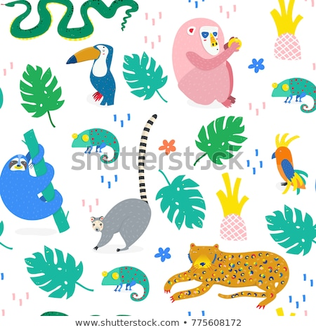 cute hand drawn sloths illustrations seamless pattern stock photo © marish
