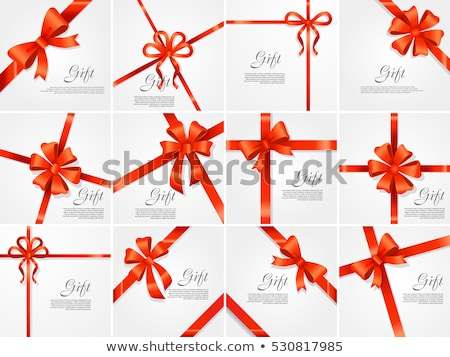 Stock photo: Gift Card Red Ribbon and Space Frame for Text