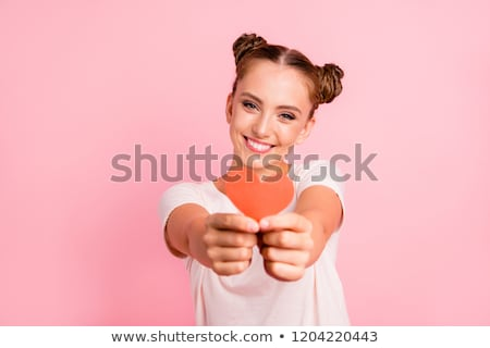 Valentine's Day concept. 14 february. Fashion Model girl isolated over yellow background. Beauty sty Stock photo © serdechny