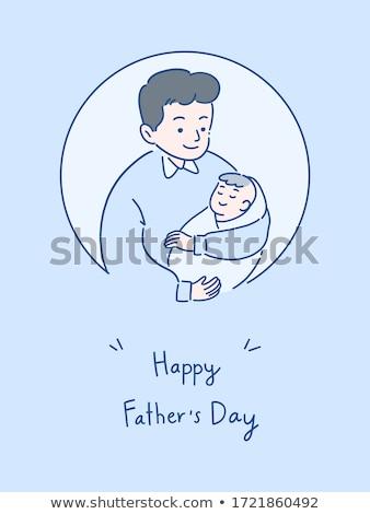Boldog kicsi kislány apa otthon család Stock fotó © dolgachov