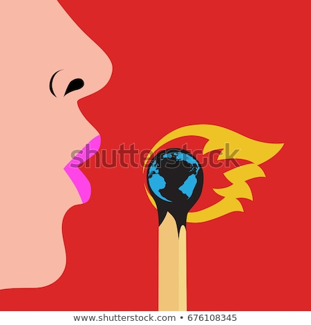 Global warming concept, planet on fire Stock photo © tilo