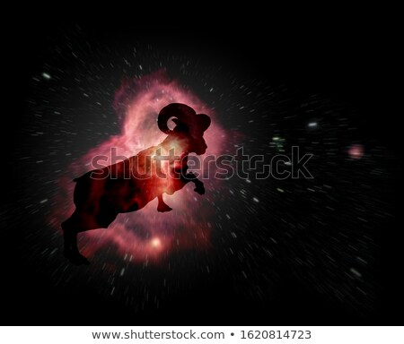 astrology sign of aries or ram with mystic aura in universe mag stock photo © swillskill
