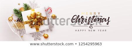 An nou fericit vesel Crăciun top vedere cutie cadou Imagine de stoc © ikopylov