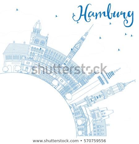 Schets hamburg skyline Blauw gebouwen exemplaar ruimte Stockfoto © ShustrikS