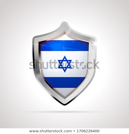 Israel flag projected as a glossy shield on a white background Stock photo © evgeny89