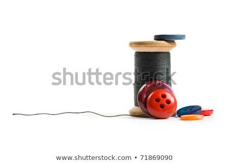 Piros cséve fekete gomb tű izolált Stock fotó © caimacanul