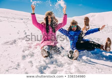 barátok · tél · hó · buli · boldog · természet - stock fotó © Paha_L