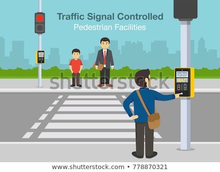 Stockfoto: Voetganger · controle · signaal · verkeer · lichten · Rood