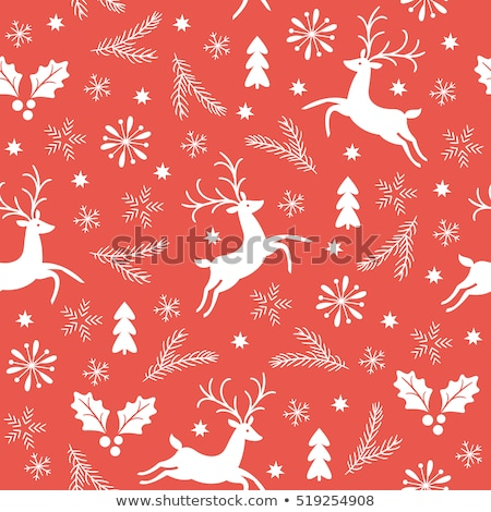 christmas pattern with deers, vector Stock photo © beaubelle