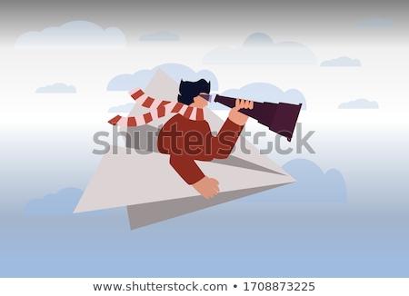 nő · papírrepülő · dob · szeretet · papír · lány - stock fotó © piedmontphoto