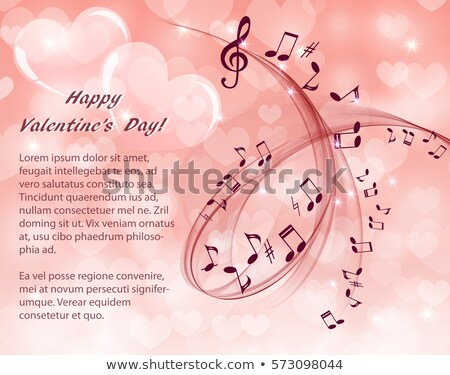 music Romantic card,heart and treble clef Stock photo © marimorena