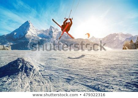 ski kiting on a frozen lake stock photo © h2o