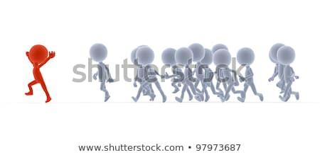 3D · pequeno · pessoas · líder · corrida · imagem - foto stock © photocreo