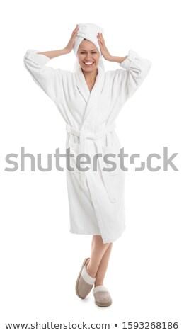 халат изолированный женщину Sexy красоту чистой Сток-фото © ozaiachin
