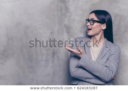 işkadını · parmak · imzalamak · güzellik · gülen · iş · kadını - stok fotoğraf © broker