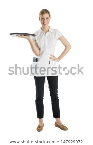 Jóvenes camarera para bandeja sonrisa fondo Foto stock © photography33