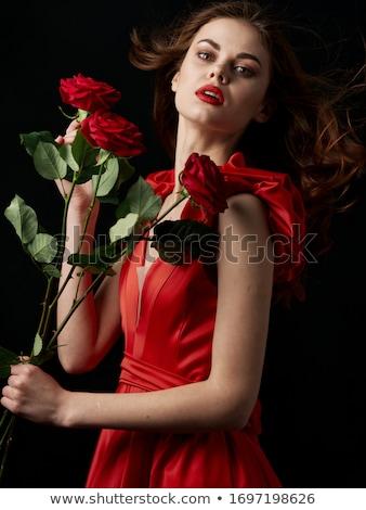 Mooie brunette Rood rose bloem liefde portret Stockfoto © photography33