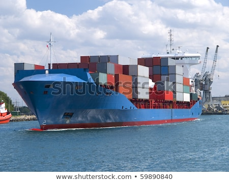 Stockfoto: Vrachtschip · haven · water · zee · Blauw · macht