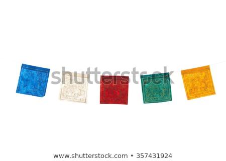 Tájkép buddhista ima zászlók színes zöld Stock fotó © bbbar