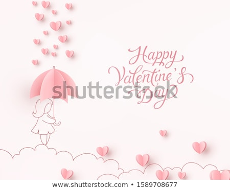 woman dreaming with card and rose flower Stock photo © chesterf