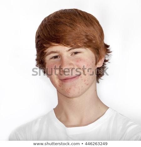 Portré vonzó vidám fiú serdülőkor arc modell Stock fotó © meinzahn