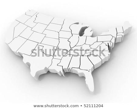 Stock fotó: Virginia · térkép · 3D · forma · zászló · izolált