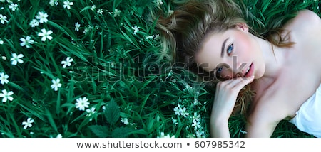 divat · szépség · lány · portré · virágok · izolált - stock fotó © nejron