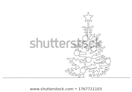 Vector christmas decoration - continuous line drawing Stock photo © orson