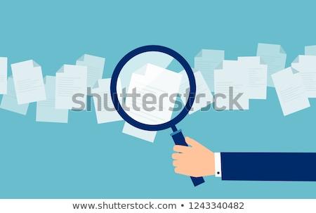 információ · vezetőség · nagyító · régi · papír · piros · függőleges - stock fotó © tashatuvango