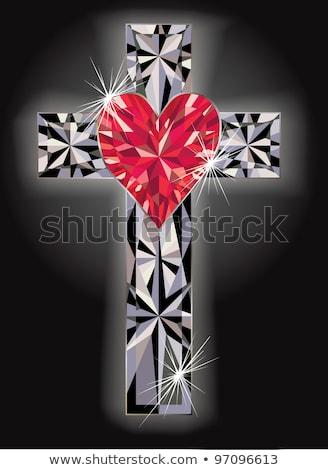 Briljant hart christelijke kruis kerk geschenk Stockfoto © carodi