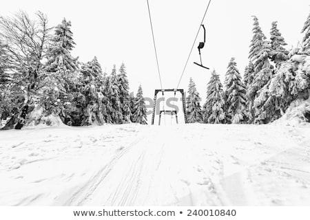 Сток-фото: лыжных · лифт · подробность · небе · пейзаж · снега