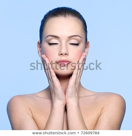 Friss lány csukott szemmel megérint arc kéz Stock fotó © deandrobot