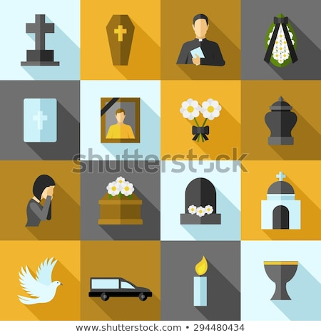 Dark Tombstone with Cross Flat Icon Stock photo © Anna_leni