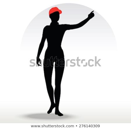 Pizza dziewczyna sylwetka czerwony hat wektora Zdjęcia stock © Istanbul2009