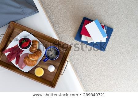 reggeli · tálca · fehér · ágy · közelkép · fektet - stock fotó © ozgur