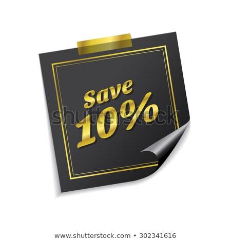 Zapisać 10 procent złoty karteczki wektora Zdjęcia stock © rizwanali3d