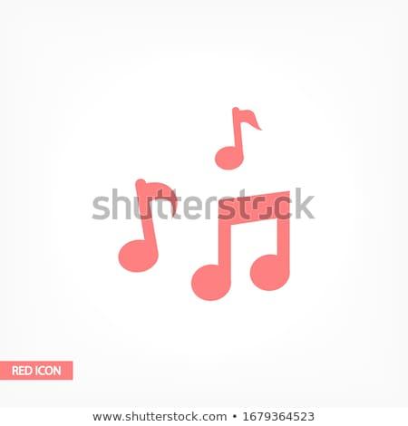 Foto stock: Notas · musicales · rojo · vector · icono · diseno · música