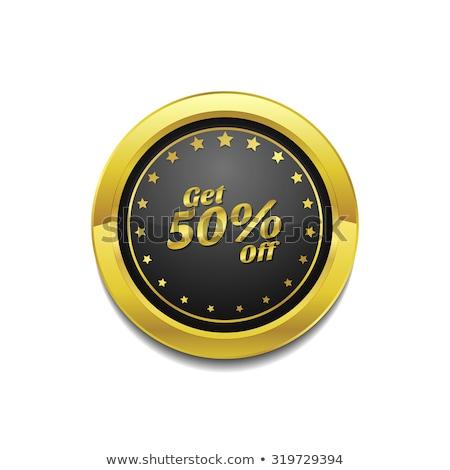 50 · százalék · arany · vektor · ikon · terv - stock fotó © rizwanali3d