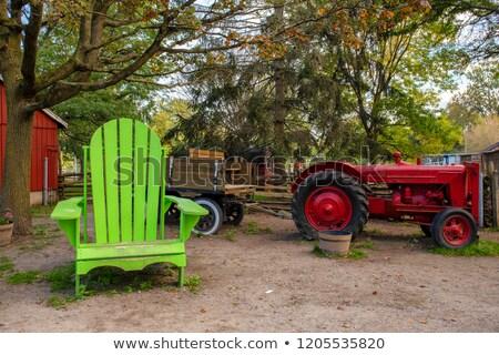 красивой женщины старые большой трактора три Сток-фото © Aikon